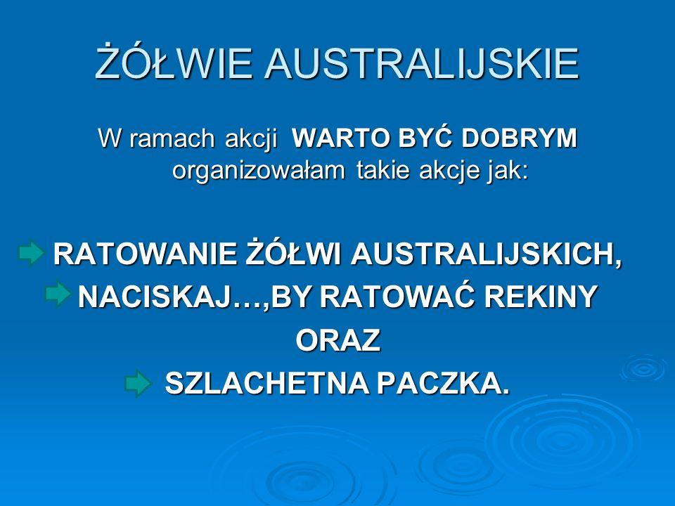 ŻÓŁWIE AUSTRALIJSKIE W ramach akcji WARTO BYĆ DOBRYM organizowałam takie akcje jak: RATOWANIE ŻÓŁWI AUSTRALIJSKICH, NACISKAJ…,BY RATOWAĆ REKINY ORAZ S