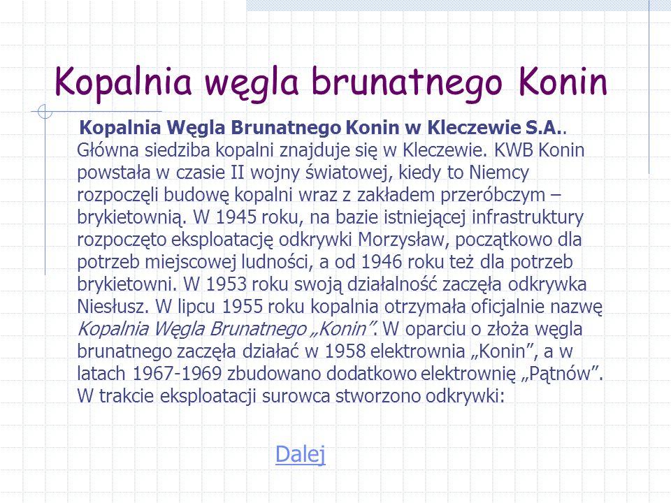 Kopalnia węgla brunatnego Konin Kopalnia Węgla Brunatnego Konin w Kleczewie S.A..