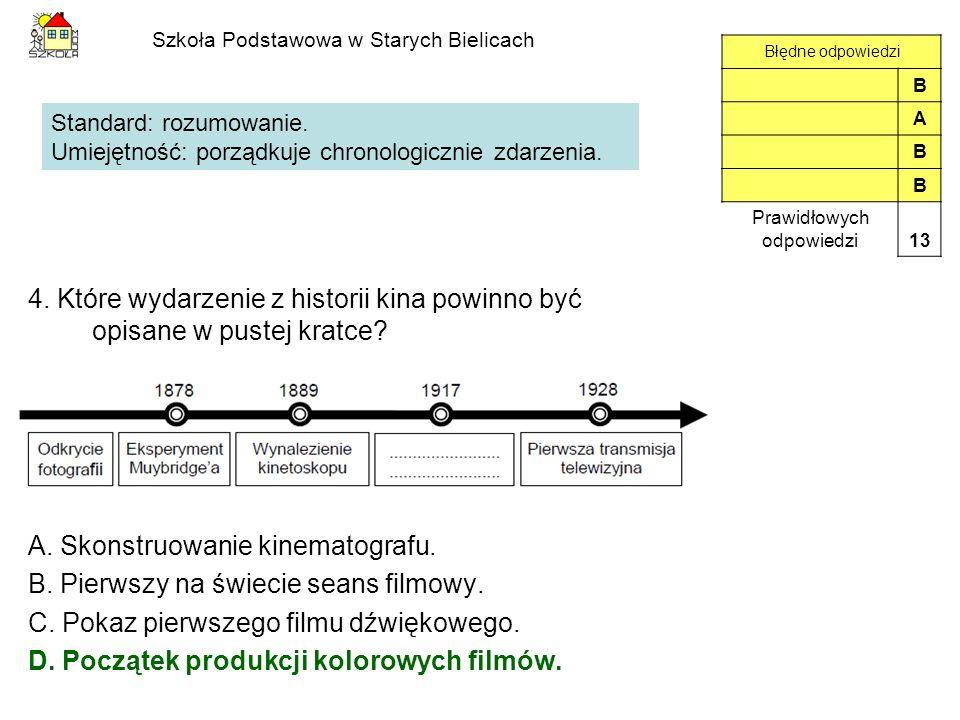 Szkoła Podstawowa w Starych Bielicach 4. Które wydarzenie z historii kina powinno być opisane w pustej kratce? A. Skonstruowanie kinematografu. B. Pie
