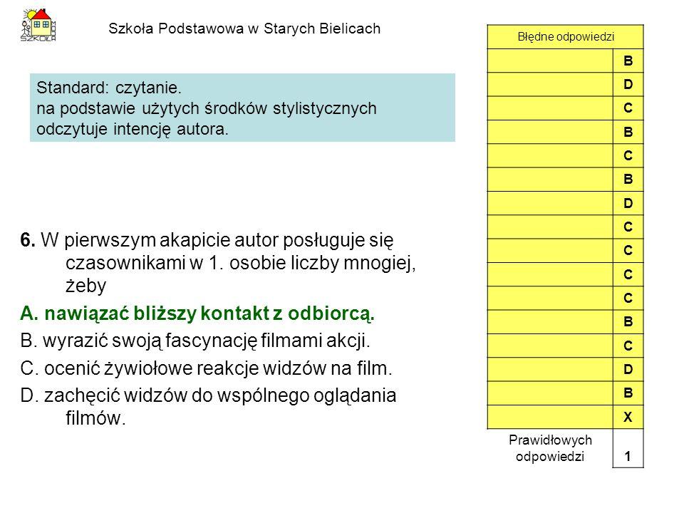 Szkoła Podstawowa w Starych Bielicach 6. W pierwszym akapicie autor posługuje się czasownikami w 1. osobie liczby mnogiej, żeby A. nawiązać bliższy ko