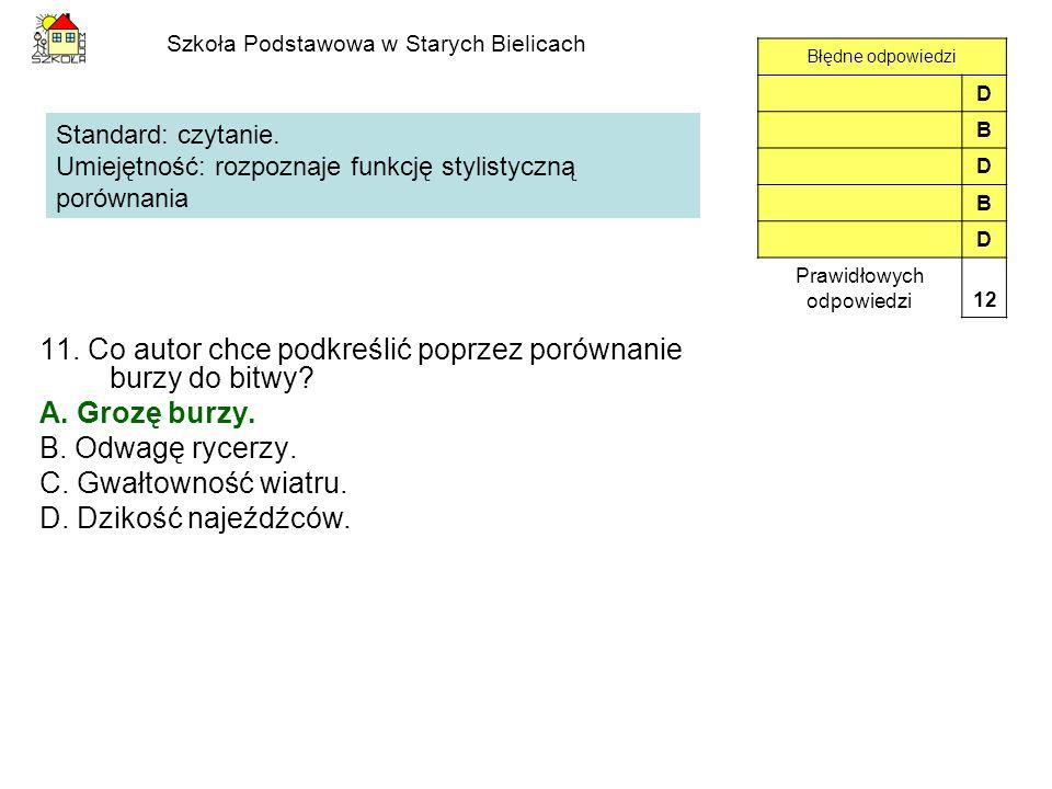 Szkoła Podstawowa w Starych Bielicach 11. Co autor chce podkreślić poprzez porównanie burzy do bitwy? A. Grozę burzy. B. Odwagę rycerzy. C. Gwałtownoś