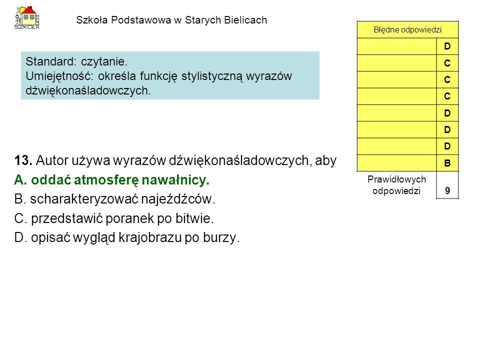 Szkoła Podstawowa w Starych Bielicach 13. Autor używa wyrazów dźwiękonaśladowczych, aby A. oddać atmosferę nawałnicy. B. scharakteryzować najeźdźców.