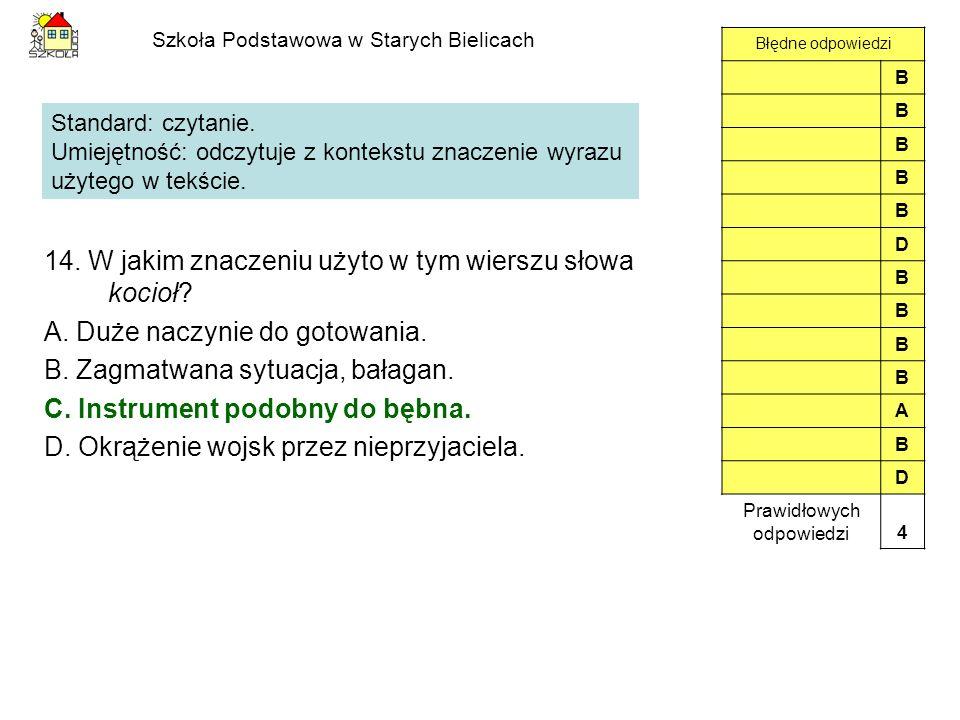 Szkoła Podstawowa w Starych Bielicach 14. W jakim znaczeniu użyto w tym wierszu słowa kocioł? A. Duże naczynie do gotowania. B. Zagmatwana sytuacja, b