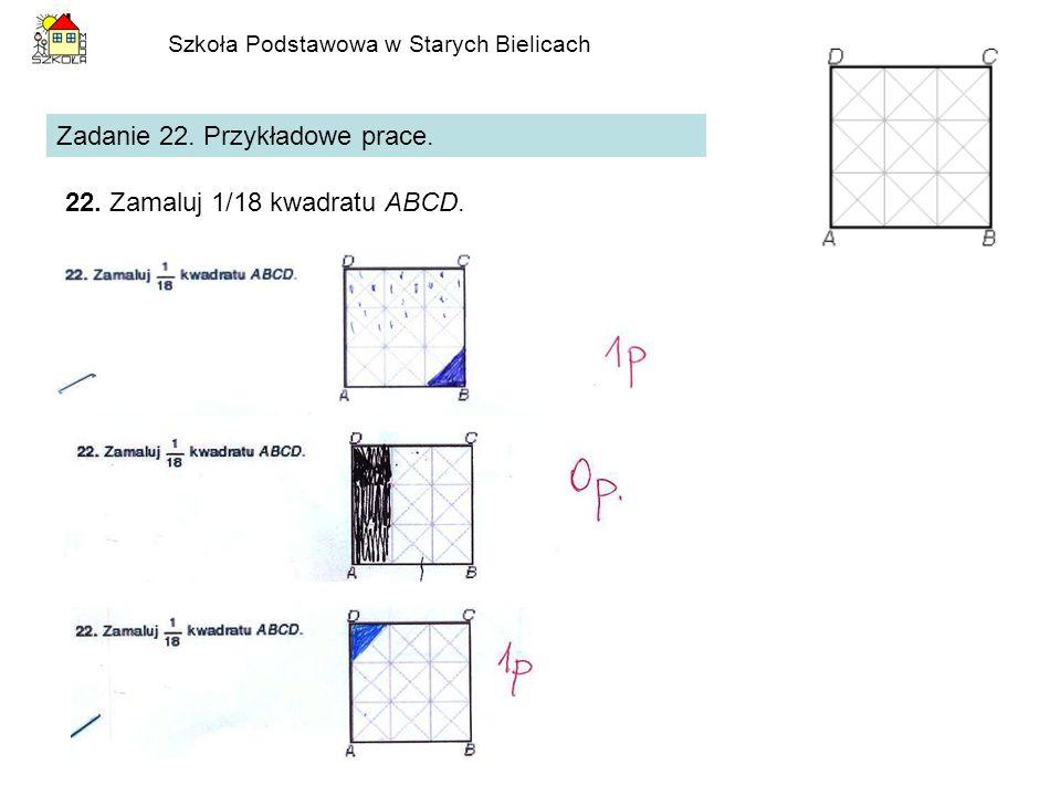 Szkoła Podstawowa w Starych Bielicach Zadanie 22. Przykładowe prace. 22. Zamaluj 1/18 kwadratu ABCD.