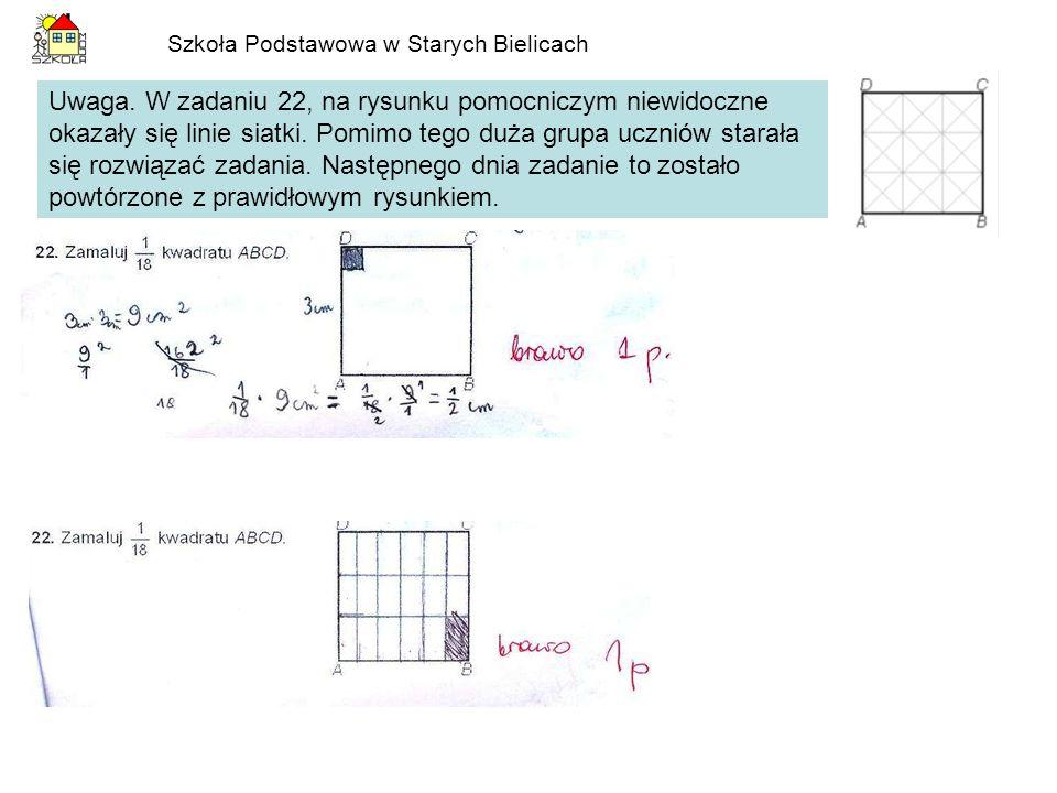 Szkoła Podstawowa w Starych Bielicach Uwaga. W zadaniu 22, na rysunku pomocniczym niewidoczne okazały się linie siatki. Pomimo tego duża grupa uczniów