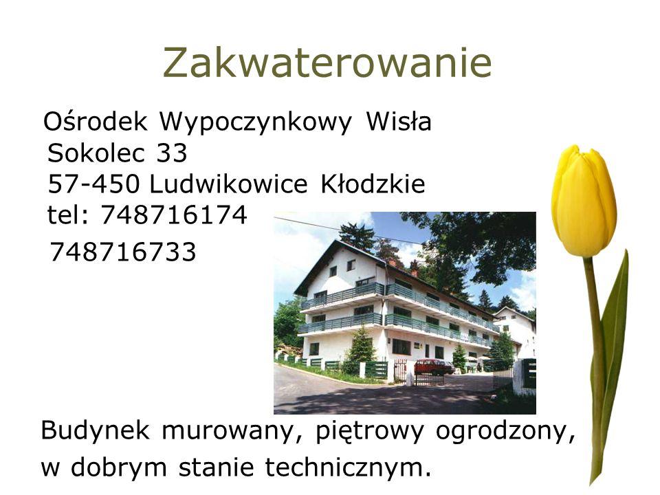 Zakwaterowanie Ośrodek Wypoczynkowy Wisła Sokolec 33 57-450 Ludwikowice Kłodzkie tel: 748716174 748716733 Budynek murowany, piętrowy ogrodzony, w dobr