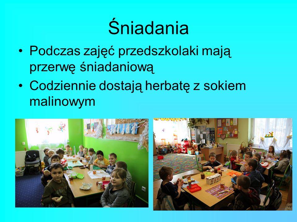 Śniadania Podczas zajęć przedszkolaki mają przerwę śniadaniową Codziennie dostają herbatę z sokiem malinowym