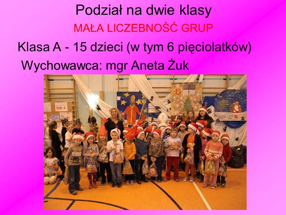 Podział na dwie klasy MAŁA LICZEBNOŚĆ GRUP Klasa A - 15 dzieci (w tym 6 pięciolatków) Wychowawca: mgr Aneta Żuk