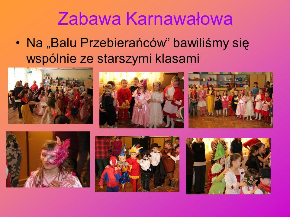 Zabawa Karnawałowa Na Balu Przebierańców bawiliśmy się wspólnie ze starszymi klasami