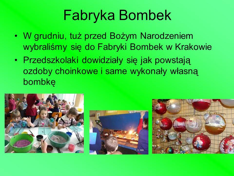 Fabryka Bombek W grudniu, tuż przed Bożym Narodzeniem wybraliśmy się do Fabryki Bombek w Krakowie Przedszkolaki dowidziały się jak powstają ozdoby cho