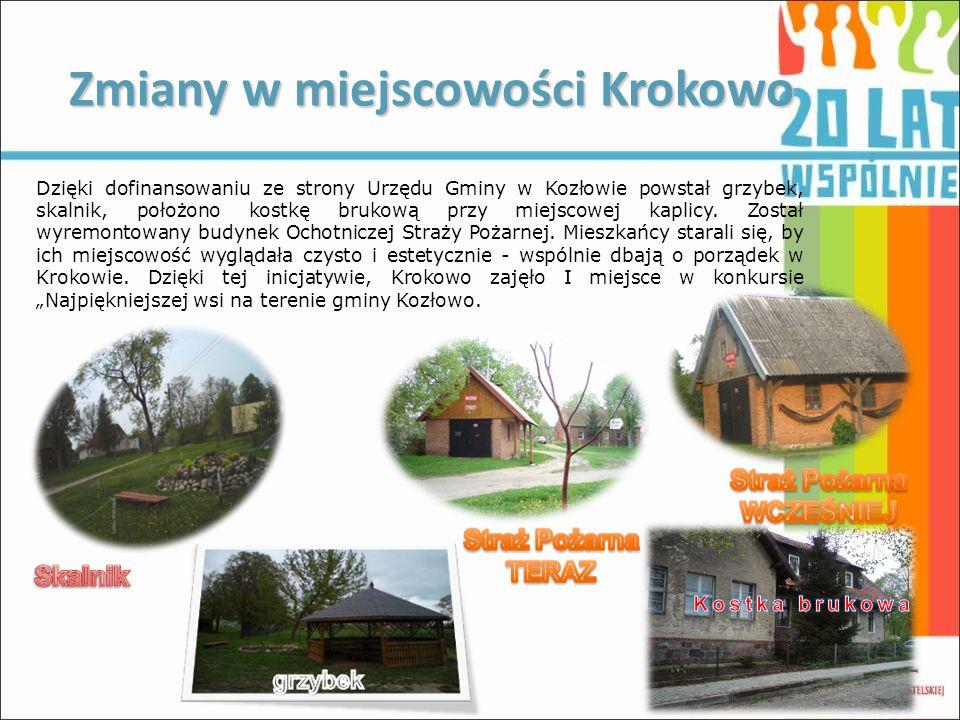 Zmiany w miejscowości Krokowo Dzięki dofinansowaniu ze strony Urzędu Gminy w Kozłowie powstał grzybek, skalnik, położono kostkę brukową przy miejscowe
