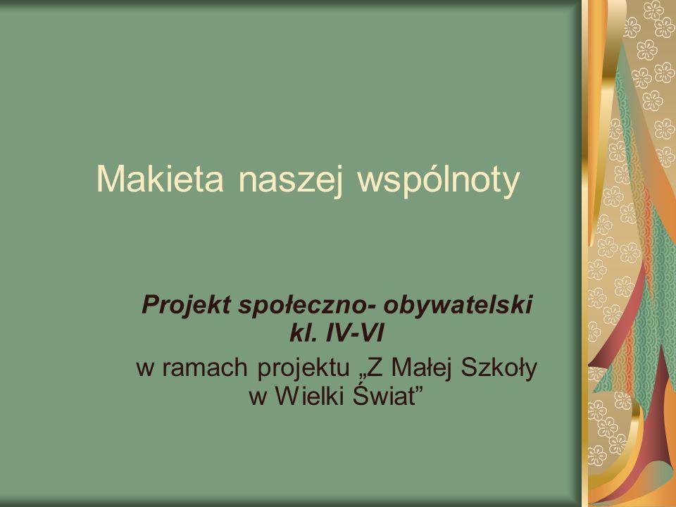 Makieta naszej wspólnoty Projekt społeczno- obywatelski kl. IV-VI w ramach projektu Z Małej Szkoły w Wielki Świat