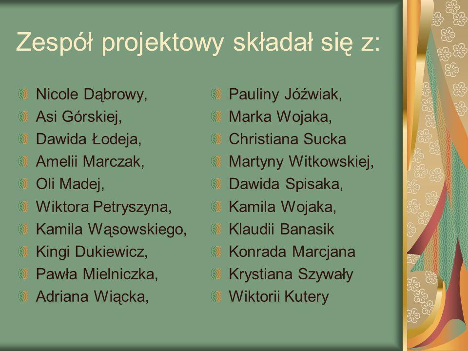 Zespół projektowy składał się z: Nicole Dąbrowy, Asi Górskiej, Dawida Łodeja, Amelii Marczak, Oli Madej, Wiktora Petryszyna, Kamila Wąsowskiego, Kingi