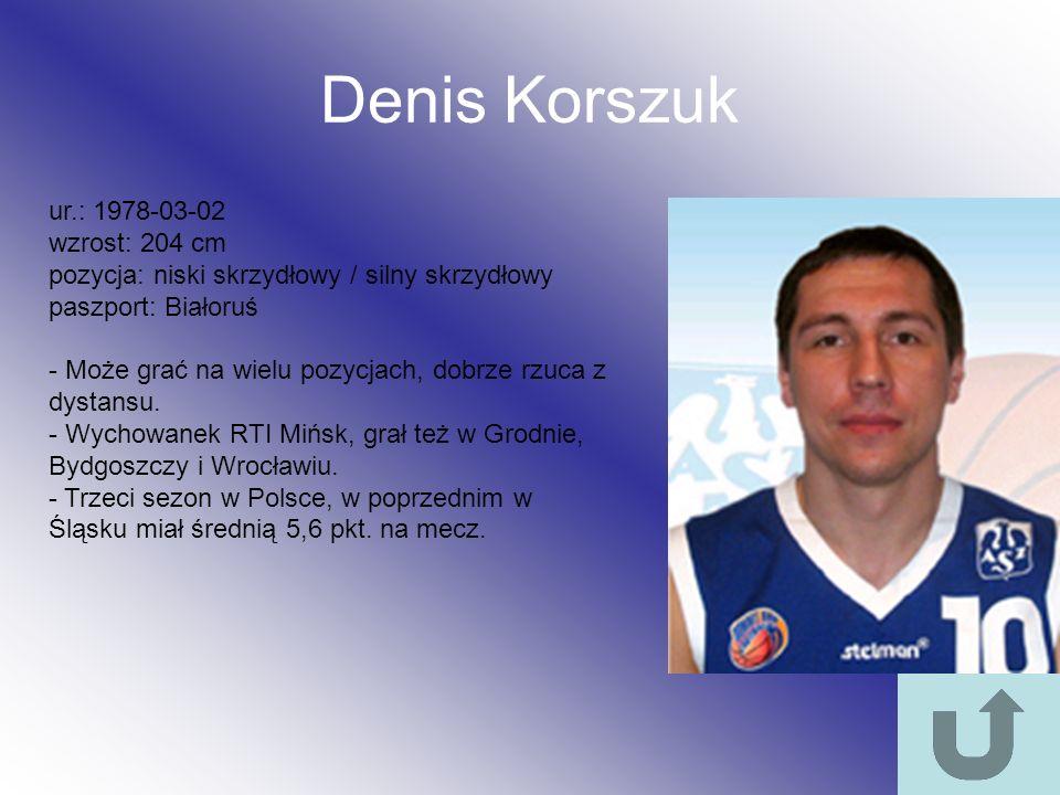 Denis Korszuk ur.: 1978-03-02 wzrost: 204 cm pozycja: niski skrzydłowy / silny skrzydłowy paszport: Białoruś - Może grać na wielu pozycjach, dobrze rz