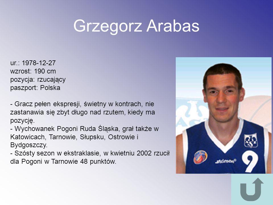 Grzegorz Arabas ur.: 1978-12-27 wzrost: 190 cm pozycja: rzucający paszport: Polska - Gracz pełen ekspresji, świetny w kontrach, nie zastanawia się zby