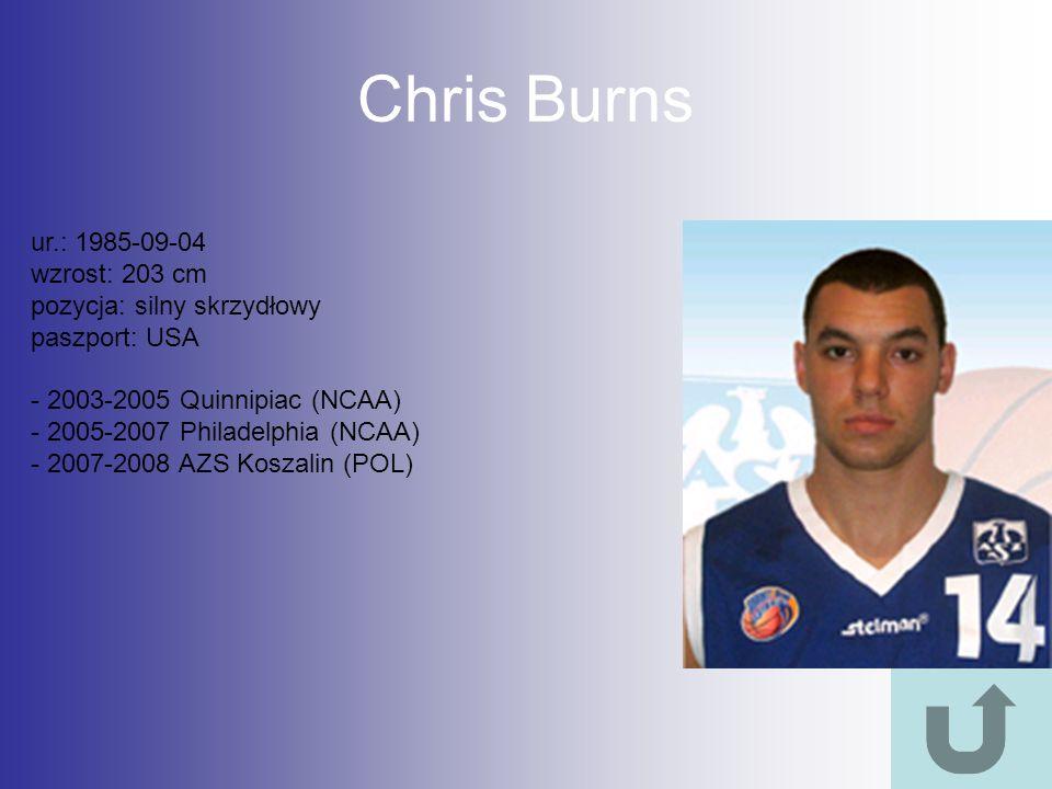 Chris Burns ur.: 1985-09-04 wzrost: 203 cm pozycja: silny skrzydłowy paszport: USA - 2003-2005 Quinnipiac (NCAA) - 2005-2007 Philadelphia (NCAA) - 200