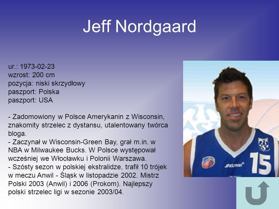 Jeff Nordgaard ur.: 1973-02-23 wzrost: 200 cm pozycja: niski skrzydłowy paszport: Polska paszport: USA - Zadomowiony w Polsce Amerykanin z Wisconsin,