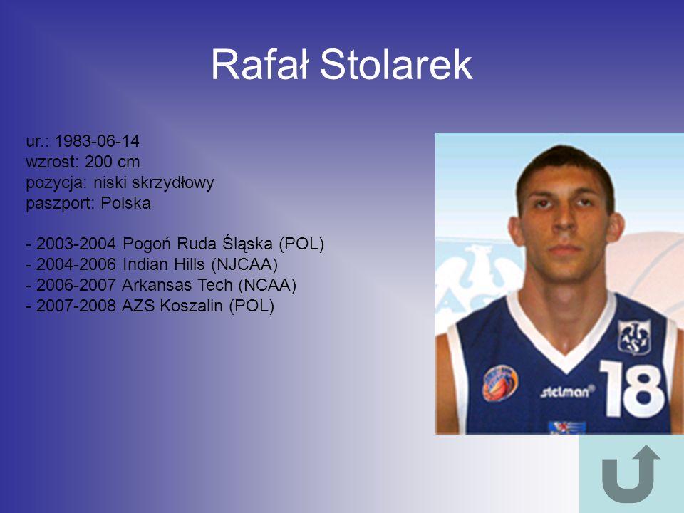Rafał Stolarek ur.: 1983-06-14 wzrost: 200 cm pozycja: niski skrzydłowy paszport: Polska - 2003-2004 Pogoń Ruda Śląska (POL) - 2004-2006 Indian Hills