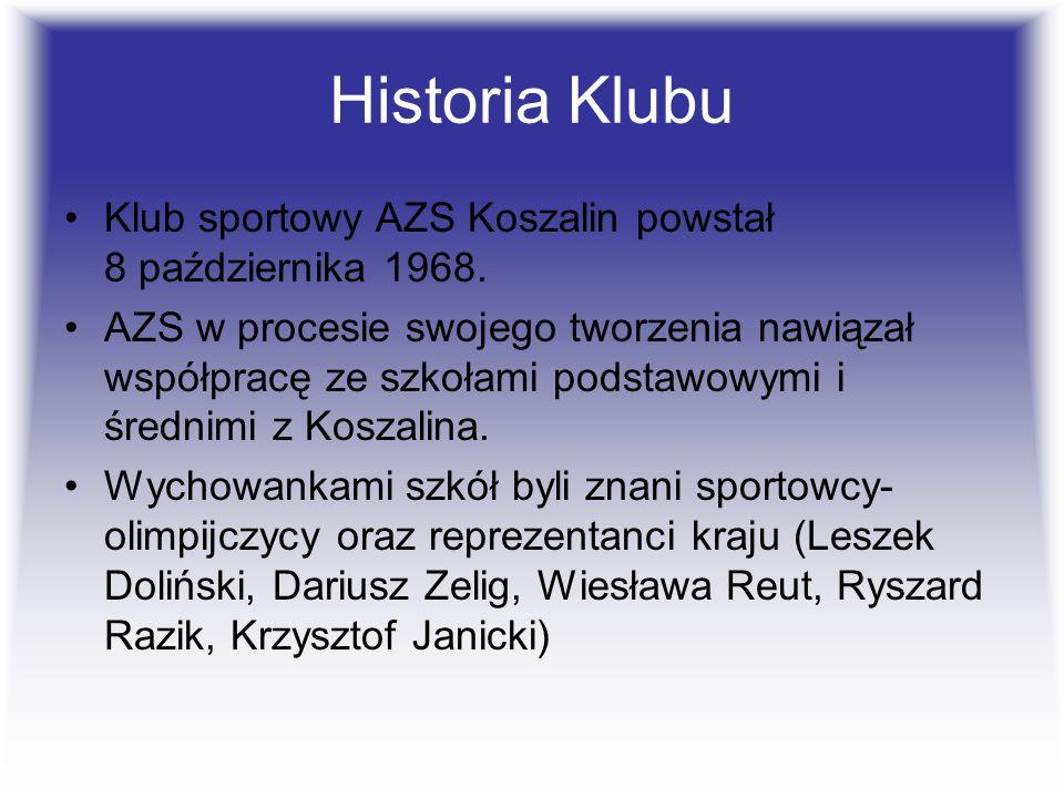 Historia Klubu Klub sportowy AZS Koszalin powstał 8 października 1968. AZS w procesie swojego tworzenia nawiązał współpracę ze szkołami podstawowymi i