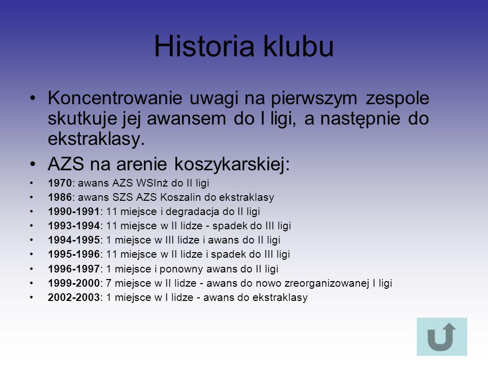 Historia klubu Koncentrowanie uwagi na pierwszym zespole skutkuje jej awansem do I ligi, a następnie do ekstraklasy. AZS na arenie koszykarskiej: 1970