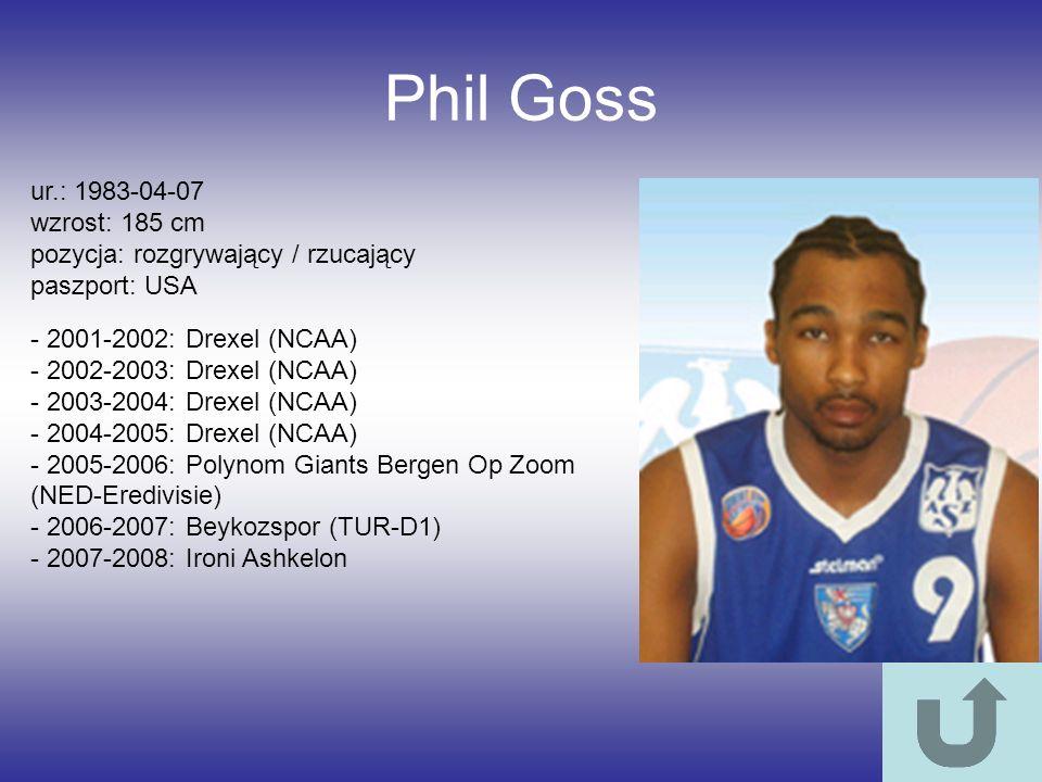 Phil Goss ur.: 1983-04-07 wzrost: 185 cm pozycja: rozgrywający / rzucający paszport: USA - 2001-2002: Drexel (NCAA) - 2002-2003: Drexel (NCAA) - 2003-