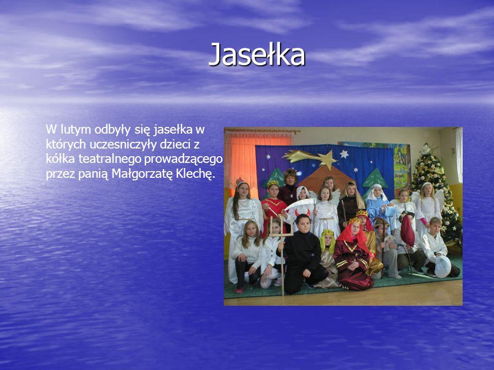 Jasełka Jasełka W lutym odbyły się jasełka w których uczesniczyły dzieci z kółka teatralnego prowadzącego przez panią Małgorzatę Klechę.
