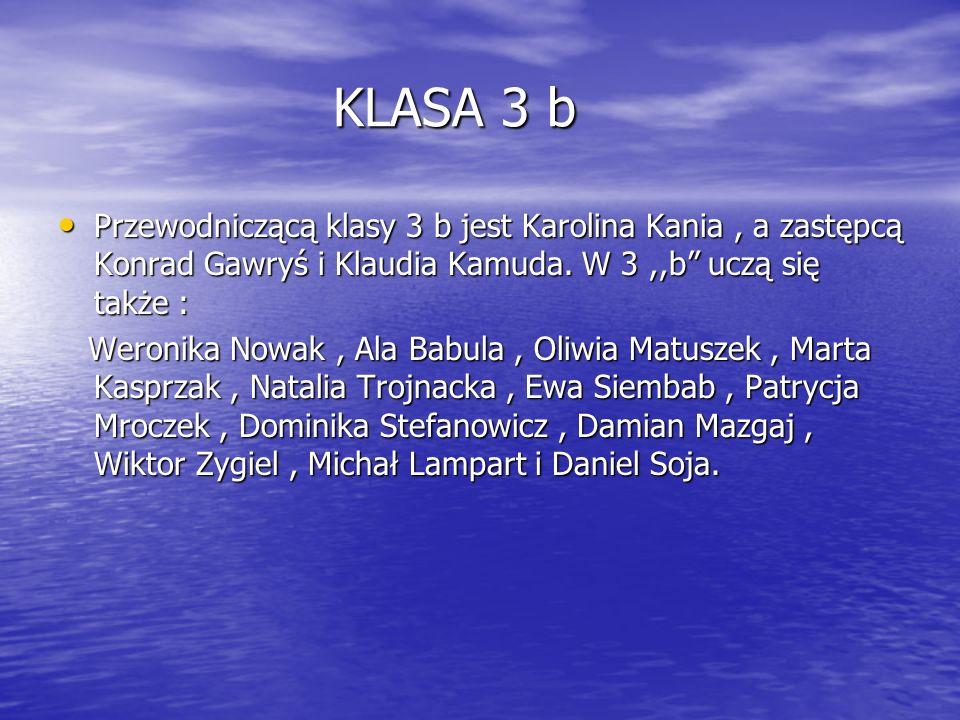 KLASA 3 b KLASA 3 b Przewodniczącą klasy 3 b jest Karolina Kania, a zastępcą Konrad Gawryś i Klaudia Kamuda. W 3,,b uczą się także : Przewodniczącą kl