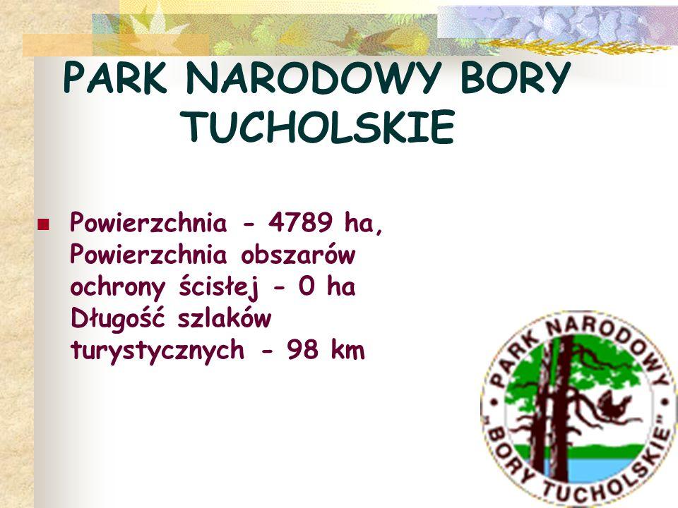 PARK NARODOWY BORY TUCHOLSKIE Powierzchnia - 4789 ha, Powierzchnia obszarów ochrony ścisłej - 0 ha Długość szlaków turystycznych - 98 km