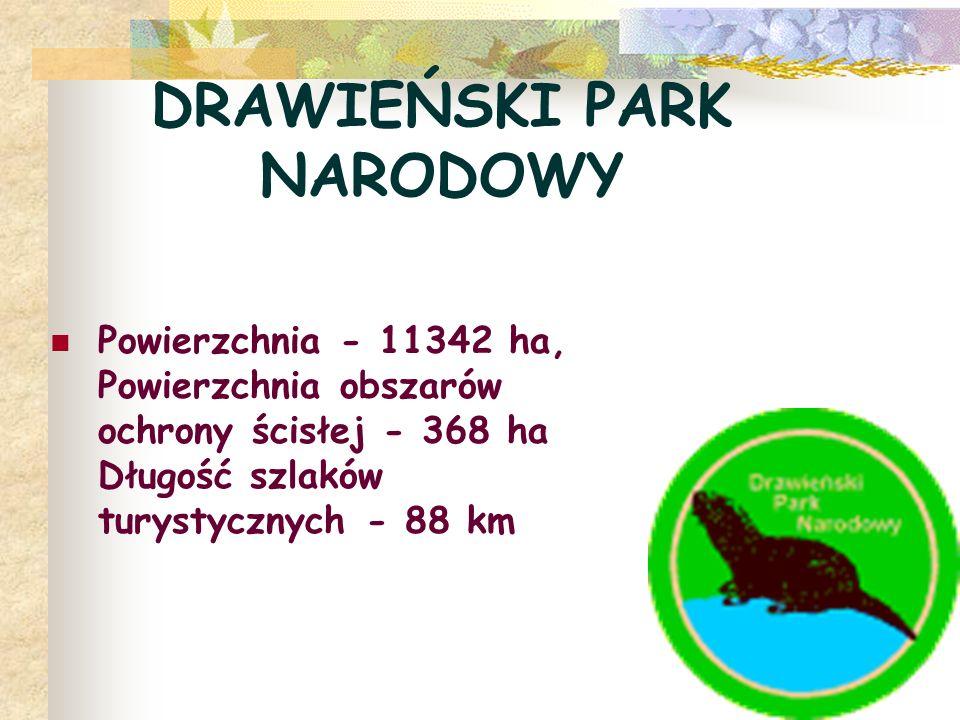 DRAWIEŃSKI PARK NARODOWY Powierzchnia - 11342 ha, Powierzchnia obszarów ochrony ścisłej - 368 ha Długość szlaków turystycznych - 88 km