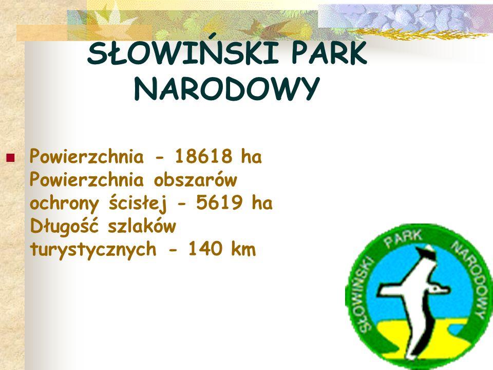 SŁOWIŃSKI PARK NARODOWY Powierzchnia - 18618 ha Powierzchnia obszarów ochrony ścisłej - 5619 ha Długość szlaków turystycznych - 140 km