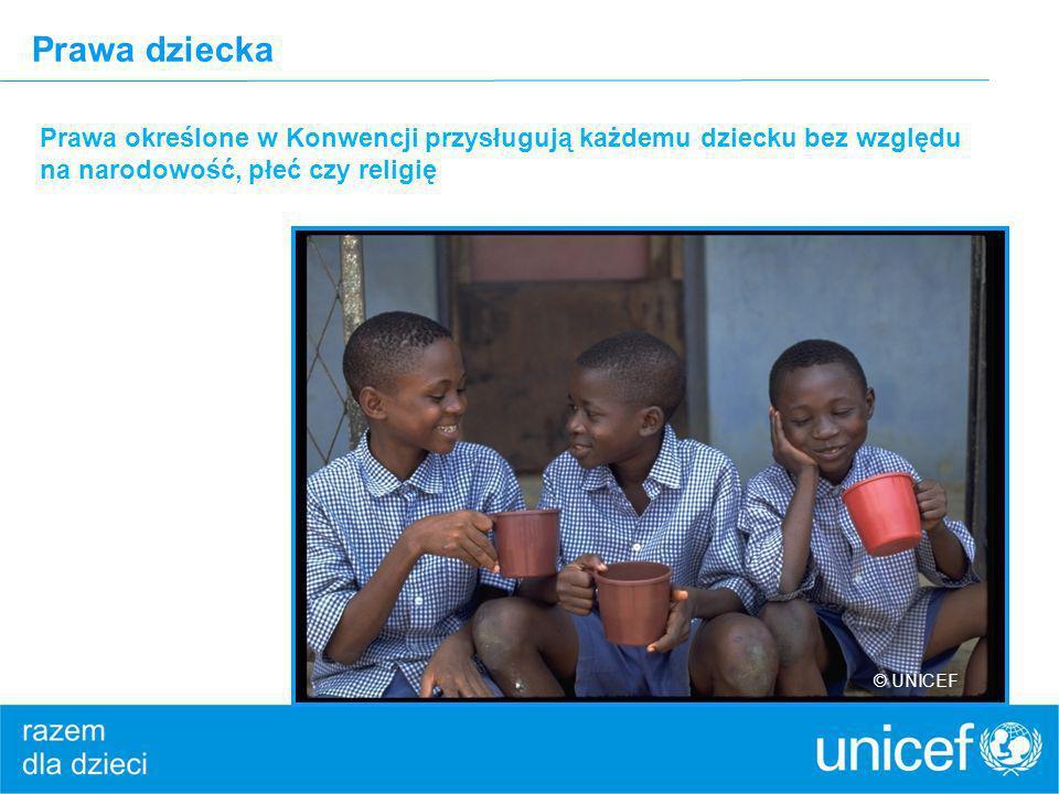 Prawa dziecka Prawa określone w Konwencji przysługują każdemu dziecku bez względu na narodowość, płeć czy religię © UNICEF