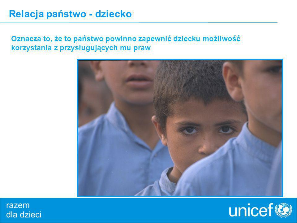 Relacja państwo - dziecko Oznacza to, że to państwo powinno zapewnić dziecku możliwość korzystania z przysługujących mu praw © UNICEF