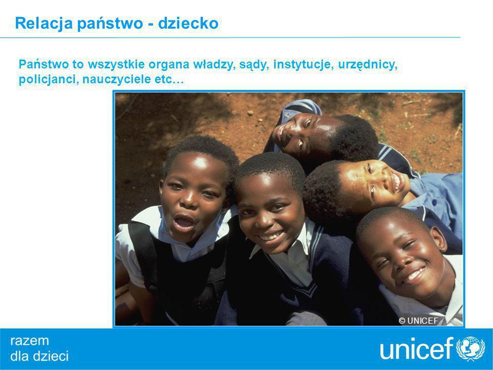 Relacja państwo - dziecko Państwo to wszystkie organa władzy, sądy, instytucje, urzędnicy, policjanci, nauczyciele etc… © UNICEF