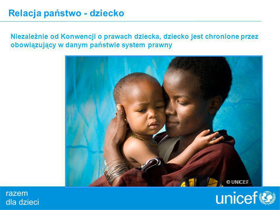 Relacja państwo - dziecko Niezależnie od Konwencji o prawach dziecka, dziecko jest chronione przez obowiązujący w danym państwie system prawny © UNICE