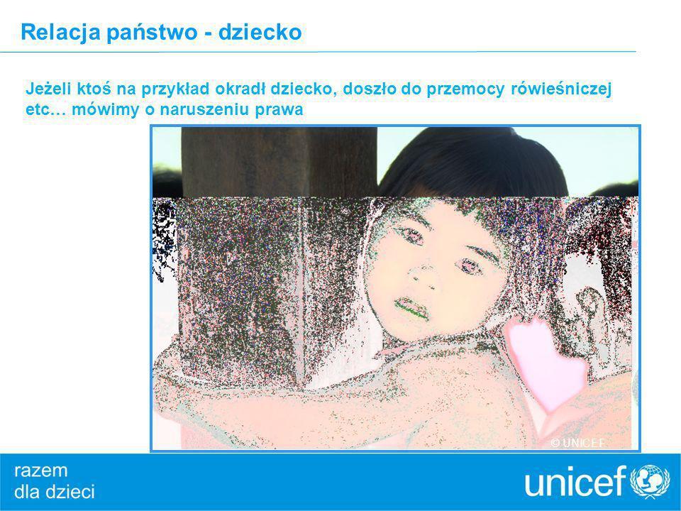 Relacja państwo - dziecko Jeżeli ktoś na przykład okradł dziecko, doszło do przemocy rówieśniczej etc… mówimy o naruszeniu prawa © UNICEF