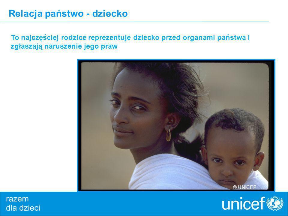 Relacja państwo - dziecko To najczęściej rodzice reprezentuje dziecko przed organami państwa i zgłaszają naruszenie jego praw © UNICEF