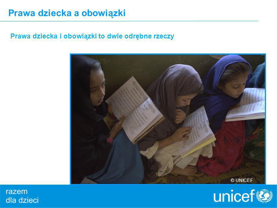 Prawa dziecka a obowiązki Prawa dziecka i obowiązki to dwie odrębne rzeczy © UNICEF