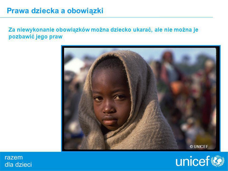 Prawa dziecka a obowiązki Za niewykonanie obowiązków można dziecko ukarać, ale nie można je pozbawić jego praw © UNICEF
