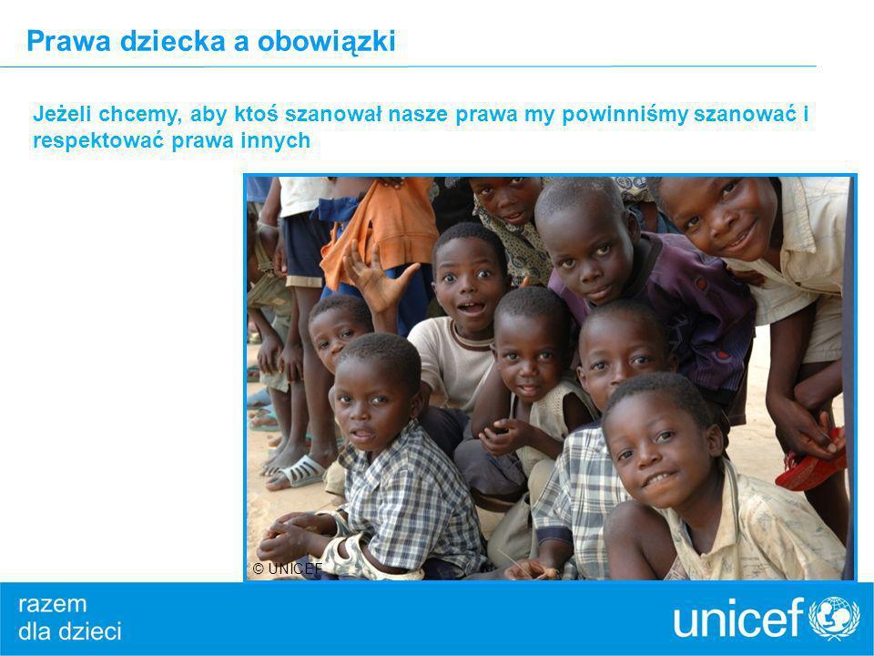 Prawa dziecka a obowiązki Jeżeli chcemy, aby ktoś szanował nasze prawa my powinniśmy szanować i respektować prawa innych © UNICEF