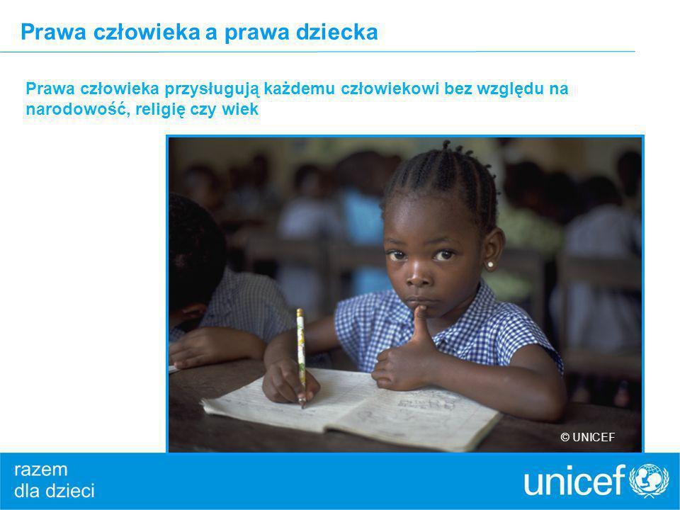 Prawa człowieka a prawa dziecka Prawa człowieka przysługują każdemu człowiekowi bez względu na narodowość, religię czy wiek © UNICEF