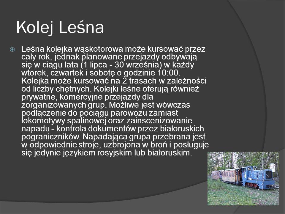 Kolej Leśna Leśna kolejka wąskotorowa może kursować przez cały rok, jednak planowane przejazdy odbywają się w ciągu lata (1 lipca - 30 września) w każdy wtorek, czwartek i sobotę o godzinie 10:00.