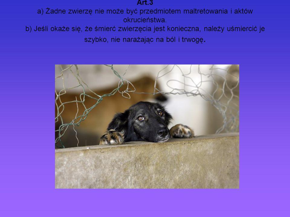 Art.3 a) Żadne zwierzę nie może być przedmiotem maltretowania i aktów okrucieństwa. b) Jeśli okaże się, że śmierć zwierzęcia jest konieczna, należy uś