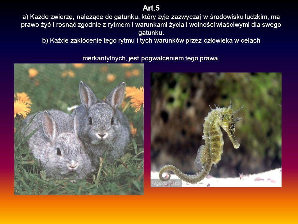 Art.5 a) Każde zwierzę, należące do gatunku, który żyje zazwyczaj w środowisku ludzkim, ma prawo żyć i rosnąć zgodnie z rytmem i warunkami życia i wol