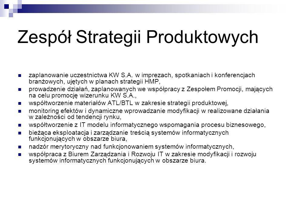 Zespół Strategii Produktowych zaplanowanie uczestnictwa KW S.A. w imprezach, spotkaniach i konferencjach branżowych, ujętych w planach strategii HMP,