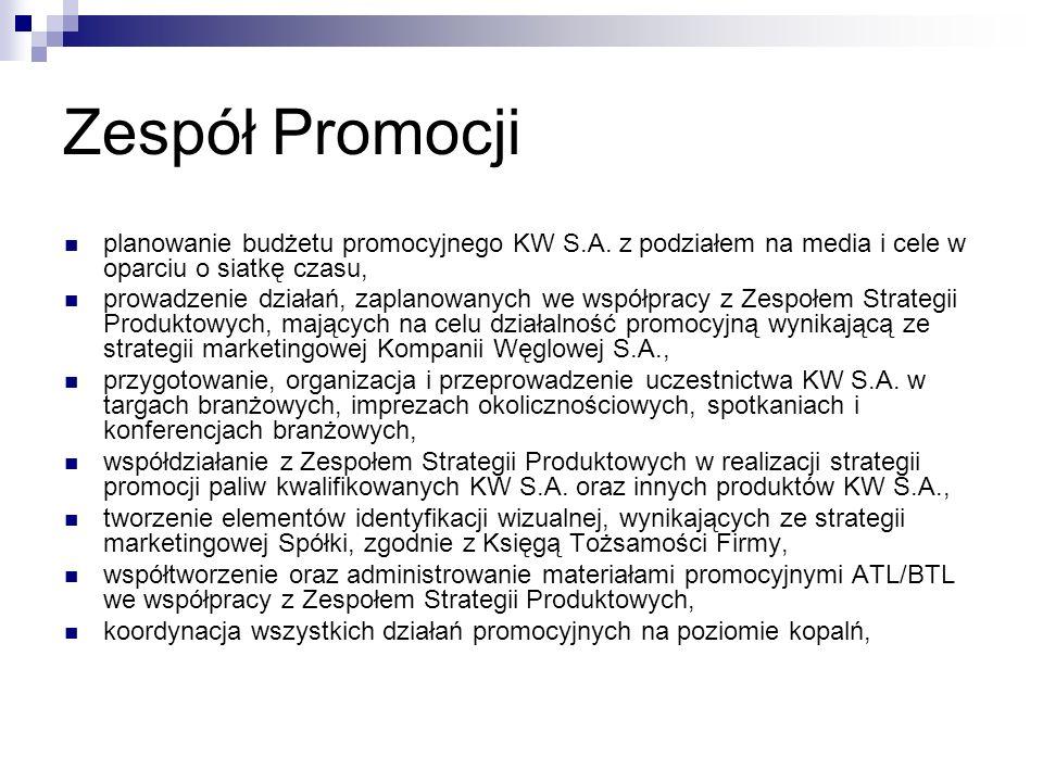 Zespół Promocji planowanie budżetu promocyjnego KW S.A. z podziałem na media i cele w oparciu o siatkę czasu, prowadzenie działań, zaplanowanych we ws