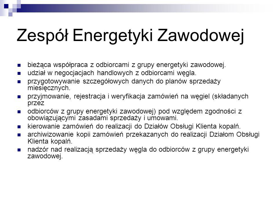 Zespół Energetyki Zawodowej bieżąca współpraca z odbiorcami z grupy energetyki zawodowej. udział w negocjacjach handlowych z odbiorcami węgla. przygot