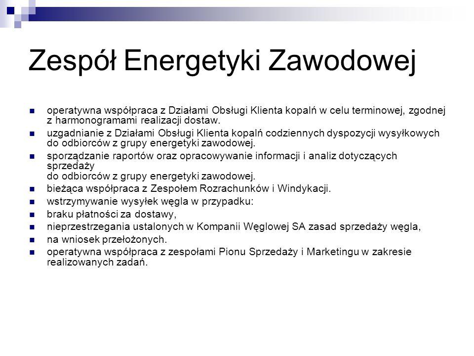 Zespół Energetyki Zawodowej operatywna współpraca z Działami Obsługi Klienta kopalń w celu terminowej, zgodnej z harmonogramami realizacji dostaw. uzg