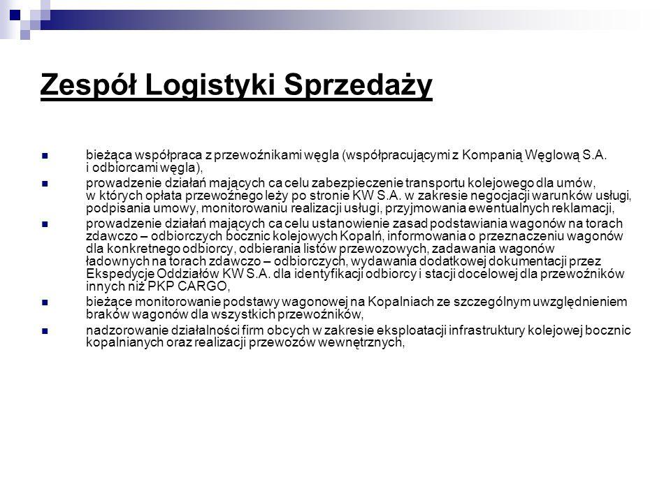 Zespół Logistyki Sprzedaży bieżąca współpraca z przewoźnikami węgla (współpracującymi z Kompanią Węglową S.A. i odbiorcami węgla), prowadzenie działań