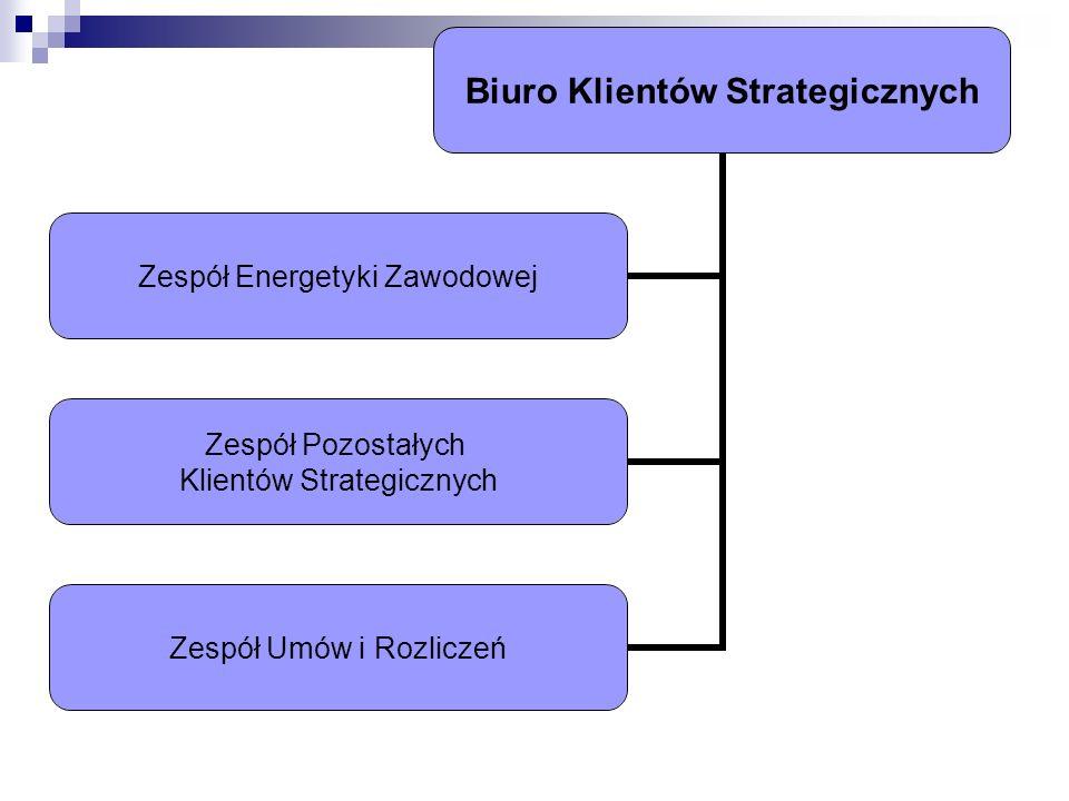 Biuro Klientów Strategicznych Zespół Energetyki Zawodowej Zespół Pozostałych Klientów Strategicznych Zespół Umów i Rozliczeń