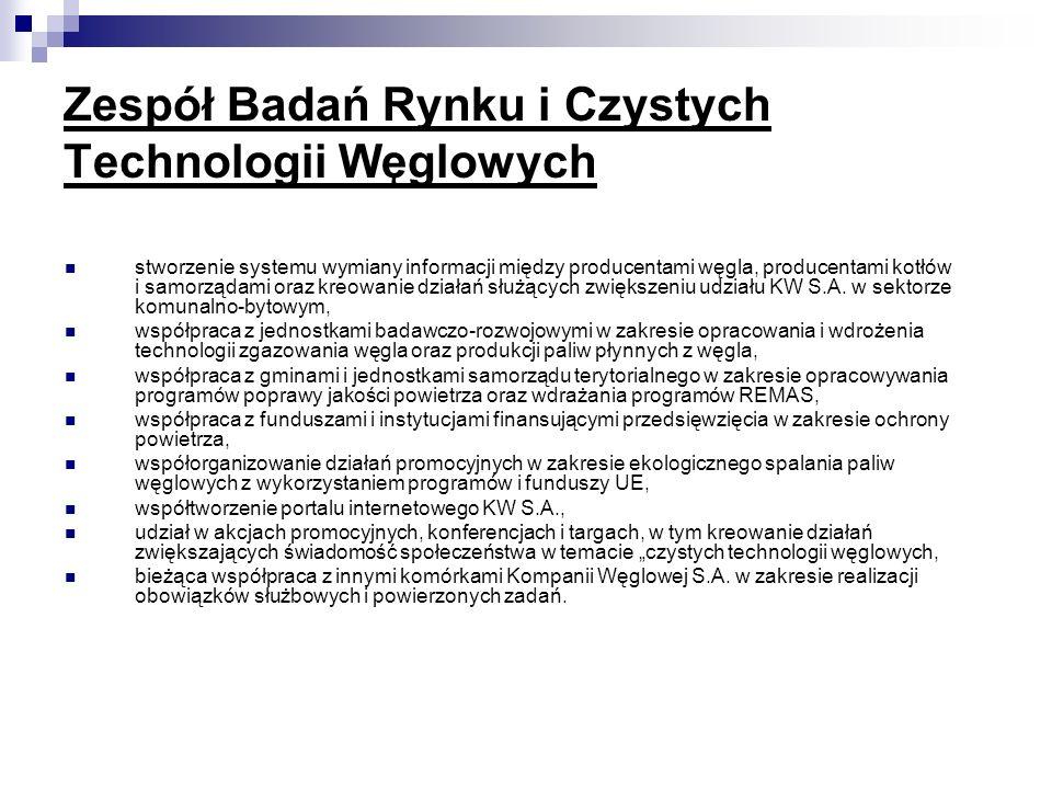 Zespół Badań Rynku i Czystych Technologii Węglowych stworzenie systemu wymiany informacji między producentami węgla, producentami kotłów i samorządami
